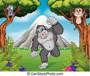 gorilla and monkey in the jungle