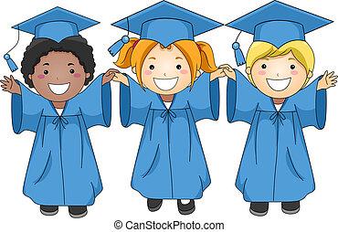 Graduates - Illustration of Graduates Jumping Happily