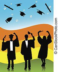 graduates - illustration of graduates, silhouettes