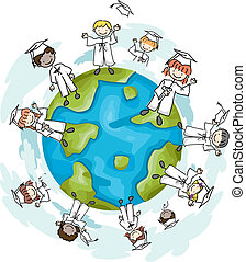 Top of the World - Illustration of Graduates Standing on the...