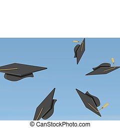 illustration of Graduation Caps Th