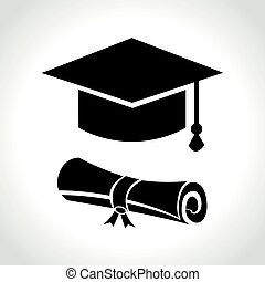 graduation icon on white background