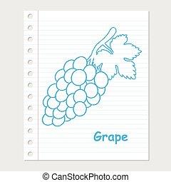 Illustration of Grape Cartoon on paper sheet -Vector illustration