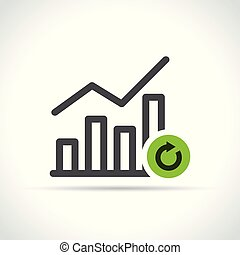 graph with arrow icon on white background