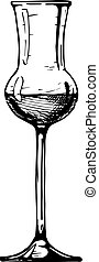 Grappa glass. Vector illustration of glass goblet in ink hand drawn style. isolated on white.
