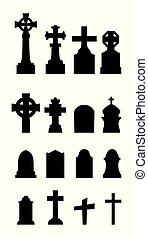 Graveyard icons set on white background