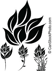 Flowers Silhouette - illustration of great Flowers...