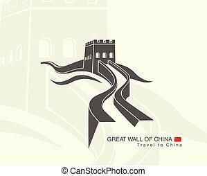 great wall of China - illustration of great wall of China...