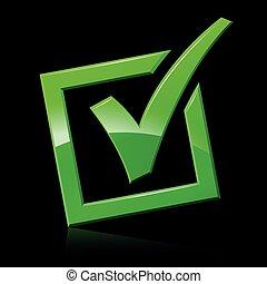 green checkmark on black background