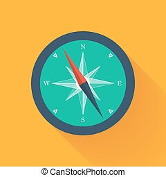 Green compass circle icon