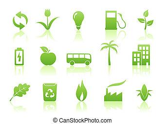 ecology icon set -  illustration of green ecology icon set