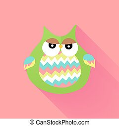Green flat owl over pink