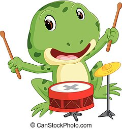 Green frog playing drum