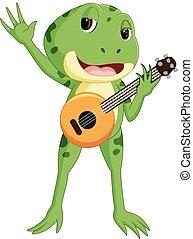 Green frog playing guitar