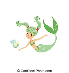 Illustration of green-haired mermaid girl and shell with pearl. Cartoon mythical marine creature with fish tail. Sea and ocean life concept. Flat vector design