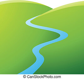 Green Hills and Blue River - Illustration of Green Hills and...