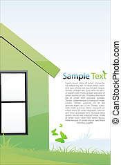 green house - illustration of green house with sample text
