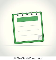 green notepad on white background