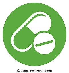 green pills circle icon