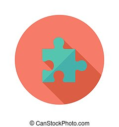 Green Puzzle Flat Icon over Red