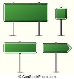 green road signs on white background