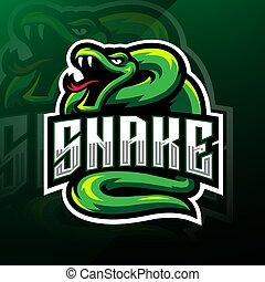 Green snake esport mascot logo design