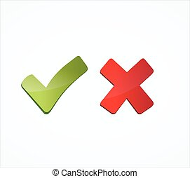 green tick mark and red cross - illustration of green tick ...