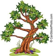 Green tree on white background illustration