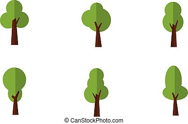 Illustration of green trees set
