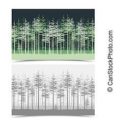 Illustration of green trees