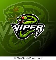 Green viper snake mascot logo design