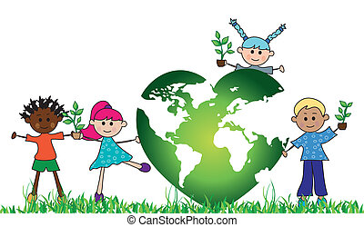green world with children - illustration of green world with...