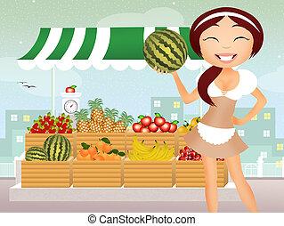 greengrocer - illustration of greengrocer