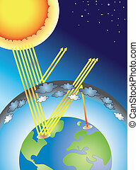 illustration of greenhouse effect for school