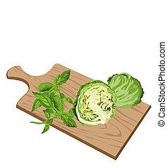 Greens on cutting board