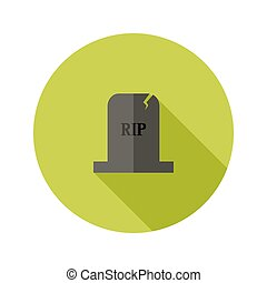 Grey Tombstone RIP Flat Icon