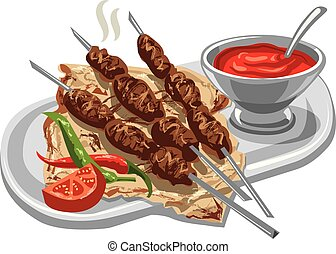 grilled kebab with pita