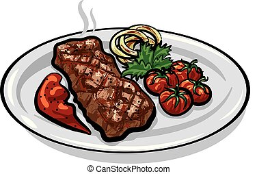 grilled roasted steak