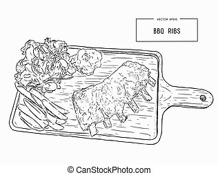 illustration of grilled spare ribs .