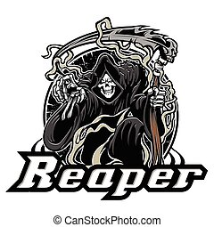 Illustration of grim reaper on white background