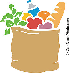 Groceries Stencil - Illustration of Grocery Bag Full of...