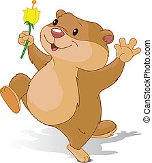 Groundhog dancing with first flowe