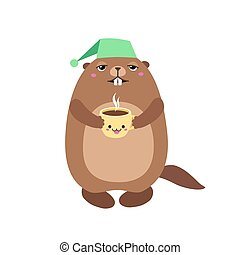 Illustration of groundhog holding a cup of coffee. Flat