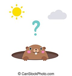 Illustration of groundhog looking out of his hole. Flat