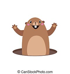 Illustration of groundhog popping out of his hole. Flat
