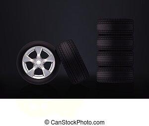 car wheels on dark
