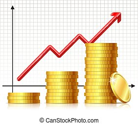 Illustration of growing pile coins and rising chart arrow