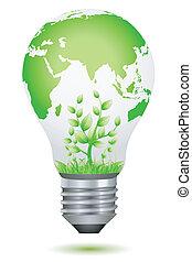 illustration of growing plant inside global bulb