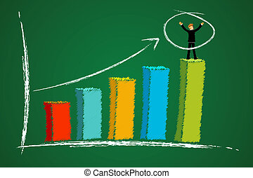 growth graph with businessman