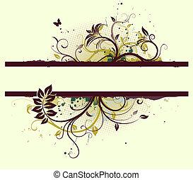 Floral Decorative banner - illustration of Grunge Floral...